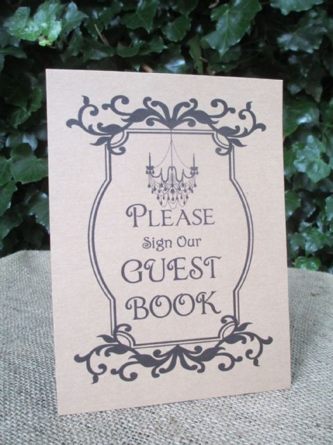 Guest Book Sign A5 Size Poster Shabby Chic Kraft Card